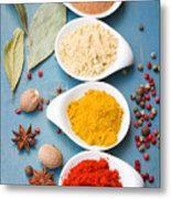 Spices On Blue   Metal Print