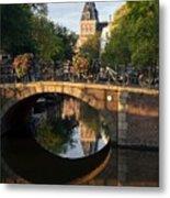Spiegelgracht Canal In Amsterdam. Netherlands. Europe Metal Print