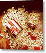 Spilt Tubs Of Popcorn And Movie Tickets Metal Print