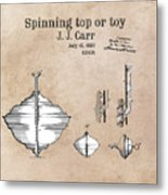 Spinning Top Or Toy Patent Art Metal Print