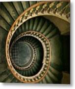 Spiral Staircase  In Green And Yellow Metal Print