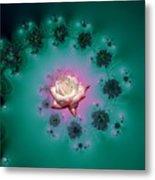 Spiral To A Rose Fractal 140 Metal Print