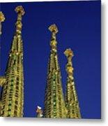 Spires Of The Sagrada Familia Cathedral At Dusk Metal Print