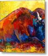 Spirit Brother - Bison Metal Print by Marion Rose