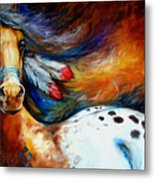 Spirit Indian Warrior Pony Metal Print by Marcia Baldwin
