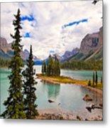 Spirit Island View Alberta Canada Metal Print