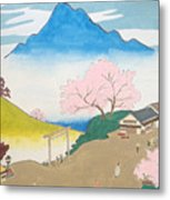 Spirit Of Shinto And Ukiyo-e In The Light Of Nature Metal Print
