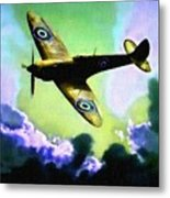 Spitfire In The Clouds H B Metal Print