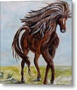 Splashing The Light - A Young Horse Metal Print