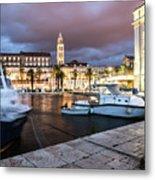 Split Harbor Night View In Croatia Metal Print