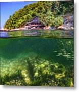 Split Level Reef And Trees With Pier Metal Print