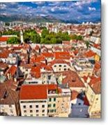Split Old City Center Aerial View Metal Print
