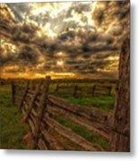 Split Rail Cedar Fence Sunset Metal Print