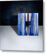 Split Square Blue Metal Print