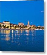 Split Waterfront Blue Hour View Metal Print