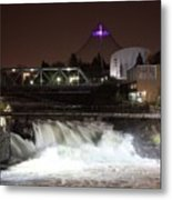 Spokane Falls Night Scene Metal Print