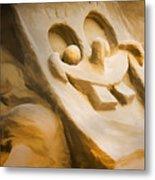 Sponge Bob Blue Water Sand Sculpture Metal Print