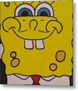 Sponge Square Yellow Brown Pants Cartoon Metal Print
