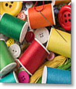 Spools Of Thread With Buttons Metal Print