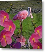 Spoonbill Through The Flowers Metal Print