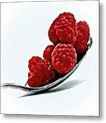 Spoonful Of Raspberries Metal Print