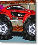 Sports Car Monster Truck Metal Print