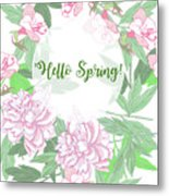 Spring  Background  With Pink Peonies And Flowers.  Metal Print