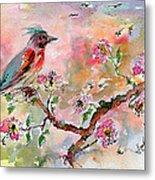 Spring Bird Fantasy Watercolor  Metal Print