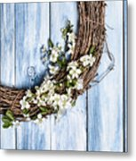 Spring Blossom Wreath Metal Print