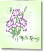 Spring Bouquet  With Three Irises.  Metal Print
