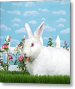 Spring Bunny Loves His Carrots Metal Print