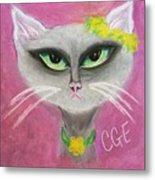 Spring Cat Metal Print