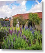 Spring Flowers In The Carmel Mission Garden Metal Print