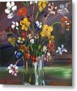 Spring Flowers In Vase Metal Print
