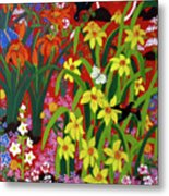 Spring Garden with Red-winged Black Bird I Metal Print
