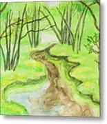 Spring Landscape, Watercolours Metal Print