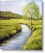 Spring On The Canal Metal Print