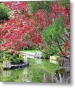 Spring Pond Reflection Metal Print