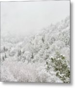 Spring Snow And Fog Highlands Metal Print
