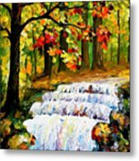 Spring Stream - Palette Knife Oil Painting On Canvas By Leonid Afremov Metal Print