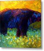 Spring Stroll - Black Bear Metal Print