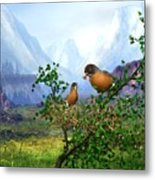 Spring Time Robins Metal Print