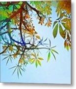 #spring #tree #leaves With #watercolor Metal Print