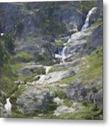 Spring Waterfall In The Tetons Metal Print