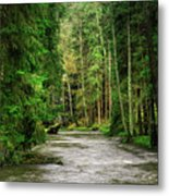 Spring Woods Greenery Metal Print