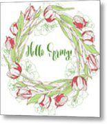 Spring  Wreath With Pink White Tulips Metal Print