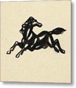 Springend Paard Met Het Hoofd Naar Achteren Gedraaid Metal Print