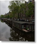 Springtime Amsterdam - Boathouses And Miniature Gardens Metal Print