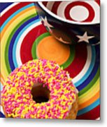 Sprinkled Donut On Circle Plate With Bowl Metal Print
