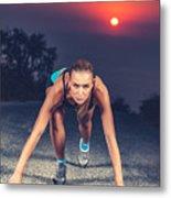 Sprinter Woman On The Start Metal Print